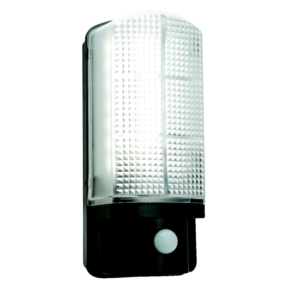 sella 85333 7w led pir bulkhead black ip44 540lm exterior security and